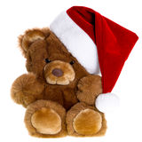 Cute vintage teddy bear with santa hat Stock Photo