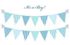 Cute vintage textile blue shabby chic bunting flags. For boy`s baby shower Stock Photography