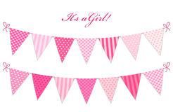 Cute vintage textile blue shabby chic bunting flags. For girl`s baby shower Stock Image