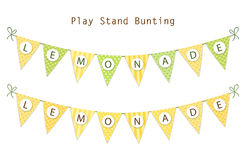 Cute vintage textile green and yellow shabby chic bunting flags for summer festivals, birthday, baby shower. Lemonade play stand etc Royalty Free Stock Photo