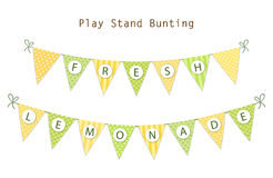 Cute vintage textile green and yellow shabby chic bunting flags for summer festivals, birthday, baby shower. Lemonade play stand etc Stock Image