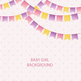 Cute vintage textile pink and violet bunting flags for girl's baby shower background. Cute flag garlands on polka dot background Stock Photography