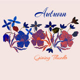 Cute vintage Thanksgiving Day card in autumn colors with leaves and cartoon flowers. illustration. For print Stock Image