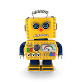 Cute vintage toy robot about to cry Royalty Free Stock Images