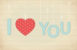 Cute vintage Valentine`s Day card I Love You as textile letters and heart in shabby chic style. Hanging on strings Stock Images