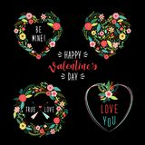 Cute vintage Valentine`s Day frames as rustic hand drawn first spring flowers in heart shape. For your decoration Stock Image