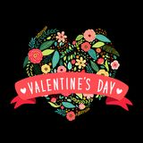 Cute vintage Valentine`s Day symbol as rustic hand drawn first spring flowers in heart shape. For your decoration Stock Images