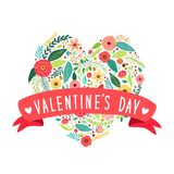 Cute vintage Valentine`s Day symbol as rustic hand drawn first spring flowers in heart shape. For your decoration Royalty Free Stock Images