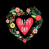 Cute vintage Valentine`s Day symbol as rustic hand drawn first spring flowers in heart shape Stock Images