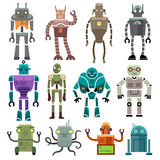 Cute vintage vector robot icons and characters. Toy set robot and technology machine artificial robot illustration Royalty Free Stock Photos