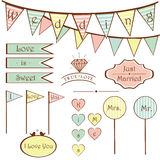 Cute vintage wedding set elements Stock Images