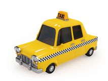 Cute Vintage Yellow Taxi on white background Stock Photography