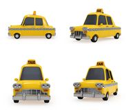 Cute Vintage Yellow Taxi on white background Stock Photo