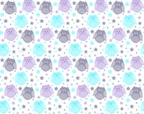 Cute violet, blue and grey owls with stars in the background Stock Photography