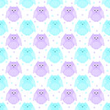 Cute violet and blue  owls with stars in the background Stock Image