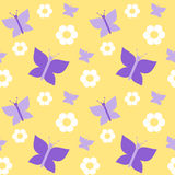 Cute violet butterfly on yellow background seamless pattern Royalty Free Stock Image