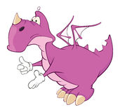 Cute violet dragon  illustration. Cartoon Royalty Free Stock Photos