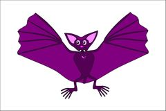 Cute violet flying bat stock photography