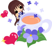 Cute violet girl Stock Images