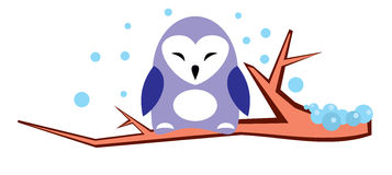 Cute violet owl on a branch in winter -  illustration. Cute violet owl on a branch in winter in snow -  illustration Stock Images