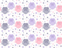 Cute violet, pink and grey owls with stars in the background Stock Photo