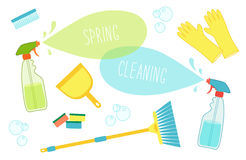 Cute vivid spring cleaning background with hand written text. For your decoration Royalty Free Stock Photography
