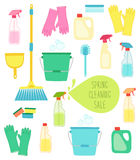 Cute vivid spring cleaning background with hand written text. For your decoration Royalty Free Stock Image