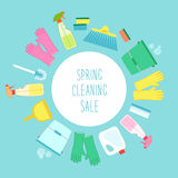 Cute vivid spring cleaning background with hand written text Royalty Free Stock Images