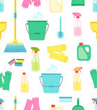 Cute vivid spring cleaning seamless background. Cute vivid seamless spring cleaning background for your decoration Royalty Free Stock Image