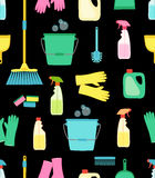 Cute vivid spring cleaning seamless background. Cute vivid seamless spring cleaning background for your decoration Royalty Free Stock Images