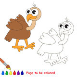 Cute vulture cartoon. Page to be colored. Royalty Free Stock Image