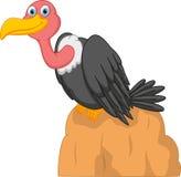 Cute Vulture cartoon on rock Royalty Free Stock Image