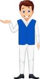 Cute waiter man cartoon posing Stock Photography