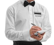 Cute waiter taking an order. Close up Royalty Free Stock Photo
