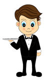 Cute Waiter With A Tray Royalty Free Stock Images
