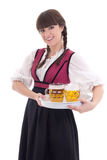 Cute waitress in bavarian dress with beer Stock Photo