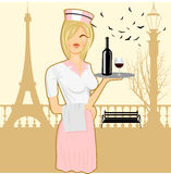 Cute waitress holding serving tray Stock Photography