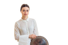 Cute waitress in uniform with trey in hands Royalty Free Stock Photography