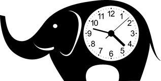 Cute wall clock elephant sticker. Stock Images