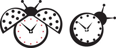 Cute wall clock ladybird sticker. Royalty Free Stock Photography
