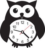 Cute wall clock owl sticker. Vector illustration Royalty Free Stock Photo