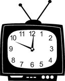 Cute wall clock television sticker. Stock Photography