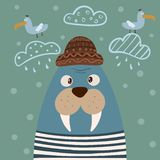 Cute walrus characters. Gull on the cloud. Idea for print t-shirt. royalty free illustration