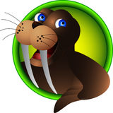 Cute walrus head cartoon Royalty Free Stock Photography