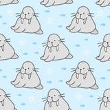 Cute walrus Seamless Pattern Background stock illustration