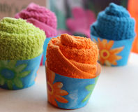 Cute Washcloth Cupcakes Royalty Free Stock Photos