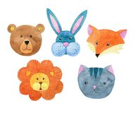 Cute watercolor animal faces. Cute watercolor wilderness animal faces Royalty Free Stock Image