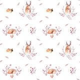 Cute watercolor baby deer animal seamless pattern, nursery isolated illustration for children clothing, patterns. Watercolor Hand drawn boho image Perfect for Stock Illustration