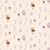 Cute watercolor baby deer animal seamless pattern, nursery isolated illustration for children clothing, patterns Stock Illustration