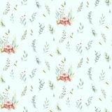 Cute watercolor baby deer animal seamless pattern, nursery isolated illustration for children clothing, patterns Royalty Free Illustration